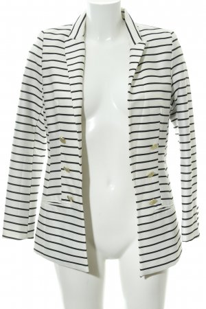 H&M Long-Blazer hellbeige-schwarz Ringelmuster Casual-Look