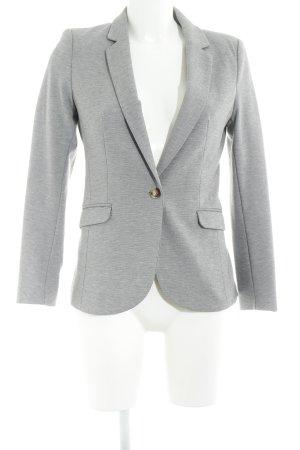 H&M Long-Blazer hellgrau meliert klassischer Stil