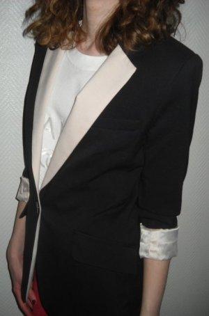 H&M Long Blazer schwarz nude rose Revers Boyfriend Jacke Business 34 36 XS S