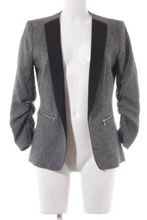 H&M Long-Blazer schwarz-weiß Zackenmuster Business-Look