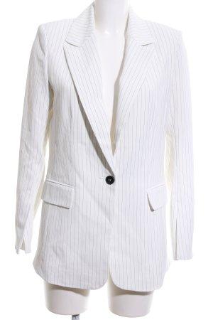 H&M Long-Blazer weiß-hellgrau Streifenmuster Business-Look