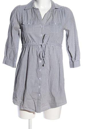 H&M Long Blouse light grey-white striped pattern business style