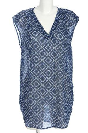 H&M Long-Bluse blau-weiß Allover-Druck Casual-Look