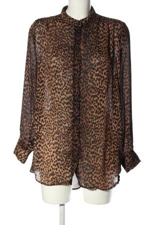 H&M Camicetta lunga marrone-nero Stampa leopardata stile casual