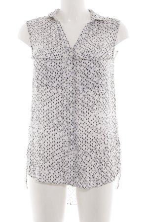 H&M Long-Bluse weiß-schwarz Allover-Druck Casual-Look