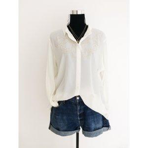 H&M Long oversize Bluse off weiß XL 42 44 Blusenshirt Shirt Material Mix mit goldenen Nieten Langarm