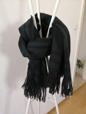 H&M Sjaal met franjes zwart-donkergroen