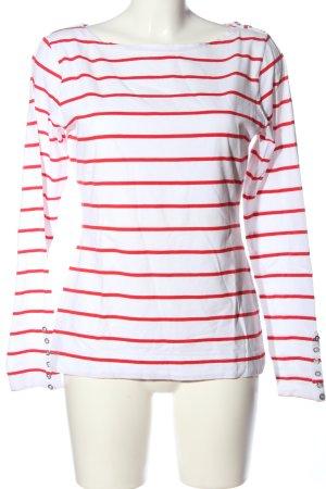 H&M Longshirt weiß-rot Streifenmuster Casual-Look