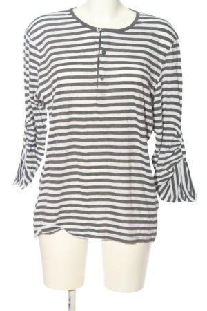 H&M Longshirt hellgrau-weiß Streifenmuster Casual-Look