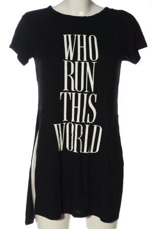H&M Longshirt schwarz-weiß Schriftzug gedruckt Casual-Look