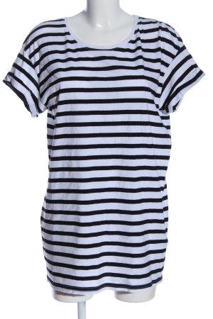 H&M Longshirt weiß-schwarz Streifenmuster Casual-Look