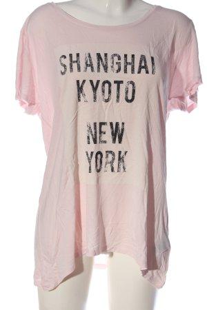 H&M Longshirt pink-schwarz Schriftzug gedruckt Casual-Look