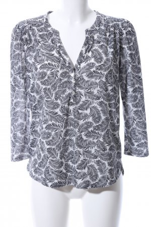 H&M Longsleeve weiß-schwarz Allover-Druck Casual-Look
