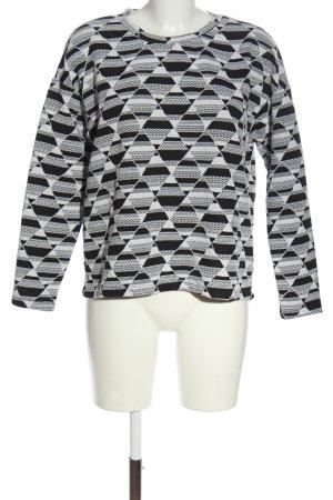 H&M Longsleeve schwarz-weiß grafisches Muster Casual-Look