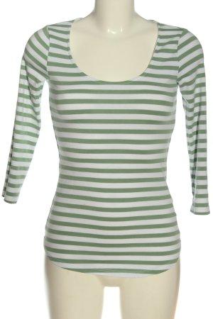H&M Longsleeve grün-weiß Streifenmuster Casual-Look