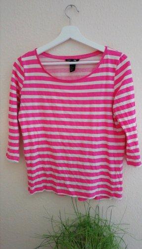 H&M Longsleeve 3/4 Arm pink weiss