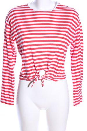 H&M Longsleeve rot-weiß Streifenmuster Casual-Look