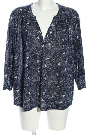 H&M Longsleeve blau-weiß Allover-Druck Casual-Look