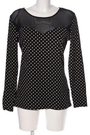 H&M Longsleeve schwarz-weiß Punktemuster Casual-Look