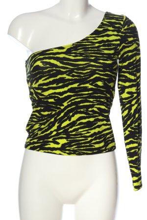 H&M Camisa de un solo hombro negro-amarillo pálido look casual