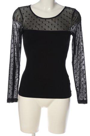 H&M Longsleeve schwarz Punktemuster Elegant