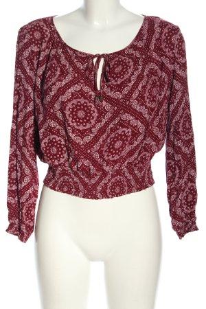 H&M Longsleeve rot-weiß Allover-Druck Casual-Look