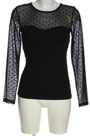 H&M Longsleeve schwarz Punktemuster Casual-Look