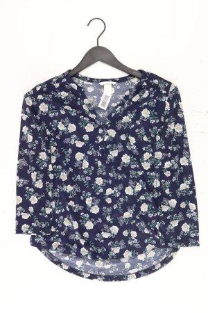 H&M Longsleeve-Shirt Größe S mit Blumenmuster Langarm blau aus Polyester