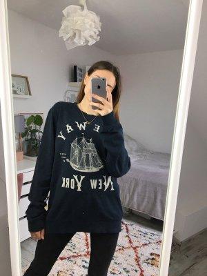 H&M Loose Fit Print Sweater Marine M Menswear