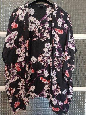 H&M Luftiger Kimono [Schwarz mit bunten Blumen, Gr. M]