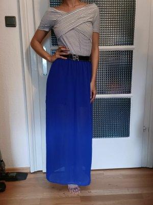 H&M Jedwabna spódnica niebieski Poliester
