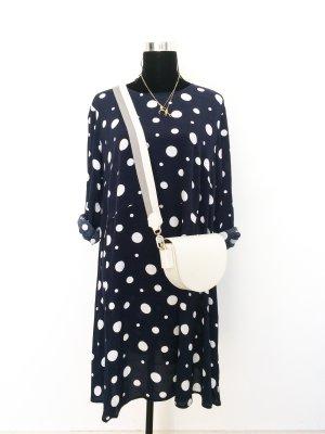 H&M luftiges Kleid mit Punkten 42 44 46 weiß blau Sommerkleid Midi