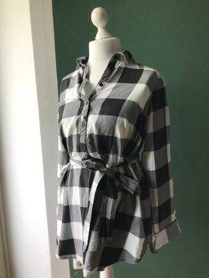 H&M Mama Blusa a cuadros blanco-negro Algodón
