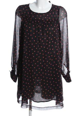 H&M Mama Langarmkleid schwarz-rot Punktemuster Elegant