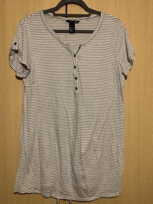 H&M Camisa tipo túnica gris claro-blanco