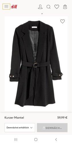 H&M Gabardina tipo vestido negro-color oro