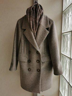 Hennes Collection by H&M Płaszcz oversize szaro-brązowy Wełna