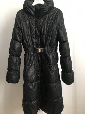 H&M Płaszcz puchowy czarny-srebrny