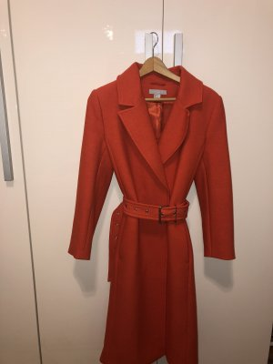 H&M Mantel mit Gürtel, lang, orange, Gr. S, NEU