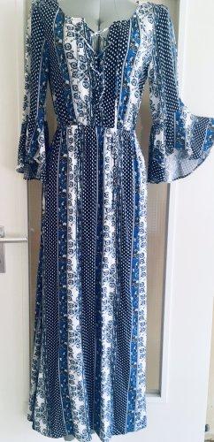 H&M Robe Hippie blanc-bleu