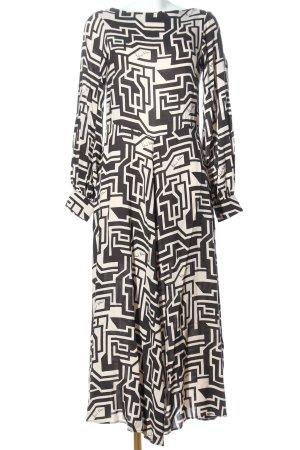 H&M Maxikleid creme-schwarz abstraktes Muster Elegant