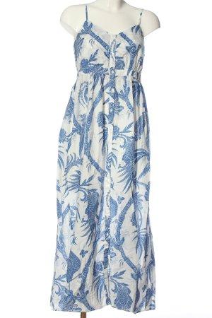 H&M Maxikleid weiß-blau Allover-Druck Casual-Look