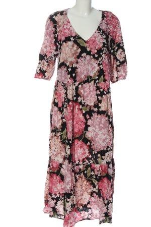H&M Maxikleid pink-schwarz Allover-Druck Casual-Look