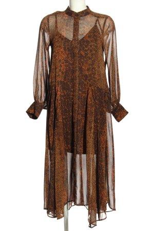 H&M Maxikleid braun-khaki abstraktes Muster Elegant