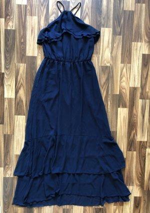 H&M Maxikleid Langes Kleid Sommerkleid dunkel blau Größe S Damen Rüschen Träger Neu 59,99€