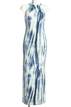 H&M Maxikleid wollweiß-blau abstraktes Muster Casual-Look