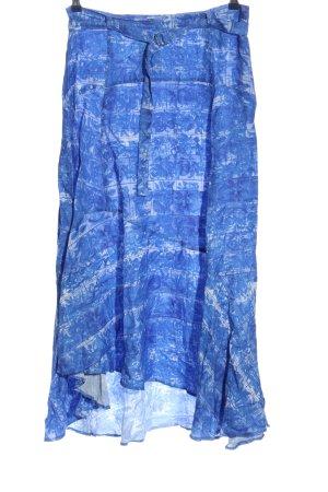 H&M Maxirock blau-weiß Allover-Druck Casual-Look