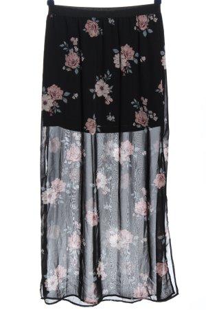 H&M Maxirock schwarz-pink Allover-Druck Elegant