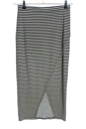 H&M Maxi Skirt black-light grey striped pattern casual look