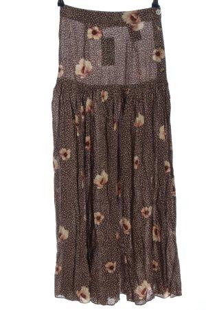 H&M Falda larga marrón-blanco puro estampado repetido sobre toda la superficie